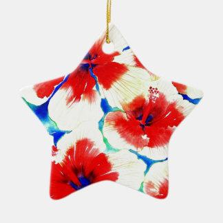 Flor del hibisco adorno de cerámica en forma de estrella