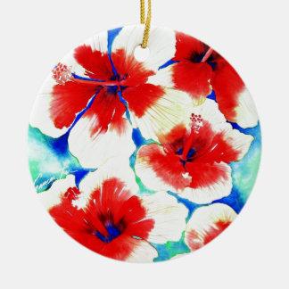 Flor del hibisco adorno redondo de cerámica