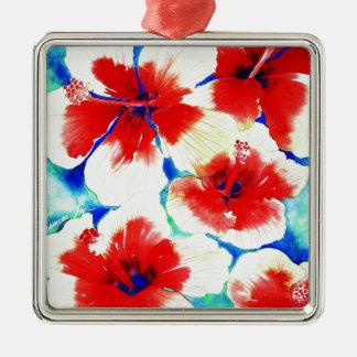 Flor del hibisco adorno cuadrado plateado