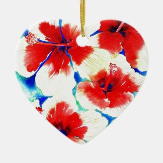 Flor del hibisco adorno de cerámica en forma de corazón