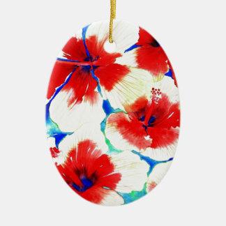 Flor del hibisco adorno ovalado de cerámica