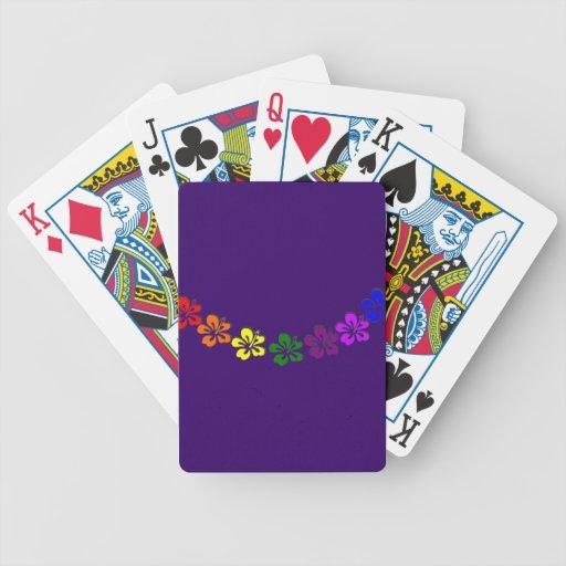 Flor del hibisco del arco iris cartas de juego