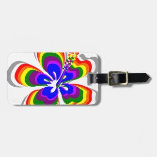 Flor del hibisco del arco iris etiqueta para equipaje