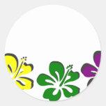 Flor del hibisco del arco iris pegatinas redondas