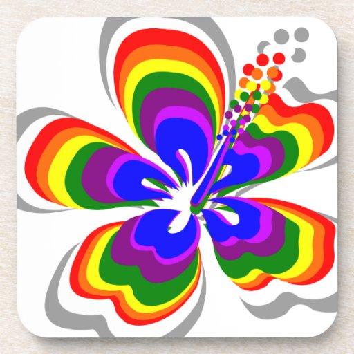 Flor del hibisco del arco iris posavasos