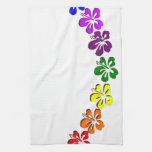 Flor del hibisco del arco iris toallas de mano