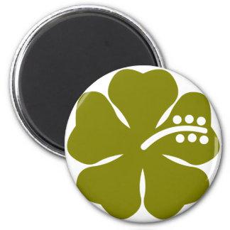 Flor del hibisco del verde verde oliva imán redondo 5 cm