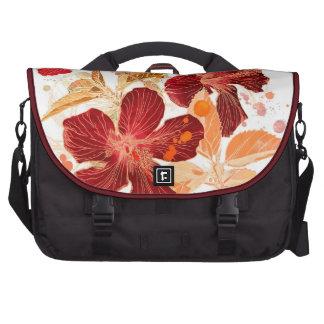 Flor del hibisco - pintura 2 de la acuarela bolsa para ordenador