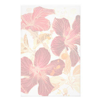 Flor del hibisco - pintura 2 de la acuarela papelería de diseño