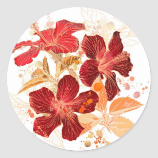 Flor del hibisco - pintura 2 de la acuarela pegatina redonda
