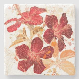 Flor del hibisco - pintura 2 de la acuarela posavasos de piedra