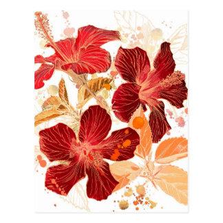 Flor del hibisco - pintura 2 de la acuarela postales