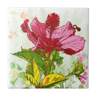 Flor del hibisco - pintura de la acuarela azulejo cuadrado pequeño