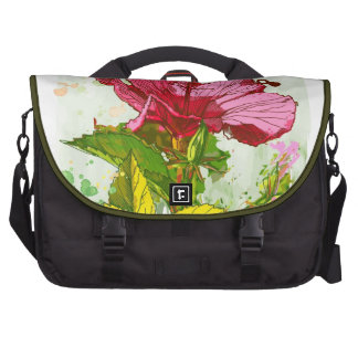 Flor del hibisco - pintura de la acuarela bolsa para ordenador