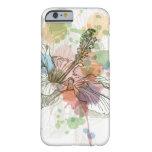 Flor del hibisco y fondo de la acuarela