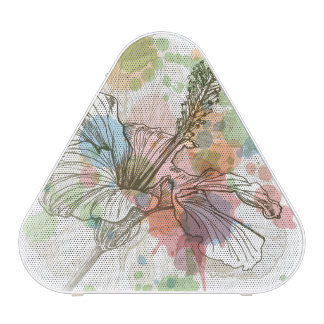Flor del hibisco y fondo de la acuarela altavoz