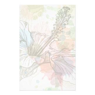 Flor del hibisco y fondo de la acuarela  papeleria