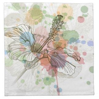 Flor del hibisco y fondo de la acuarela servilleta