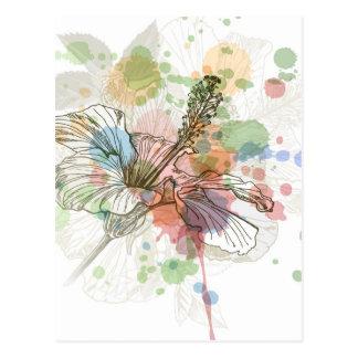 Flor del hibisco y fondo de la acuarela tarjeta postal