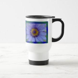 Flor del lirio de agua azul taza de viaje