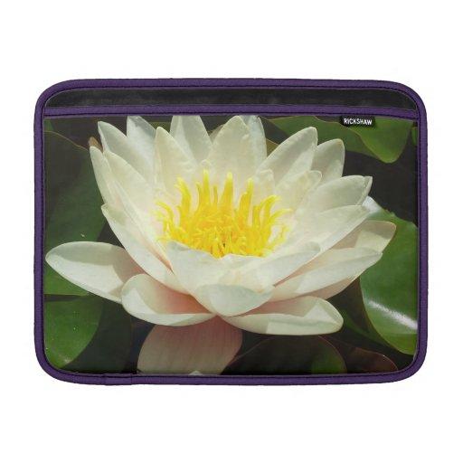 Flor del lirio de agua blanca fundas MacBook