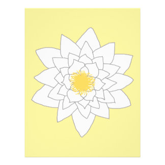 Flor del lirio de agua. Blanco y amarillo. Estilo  Tarjetones
