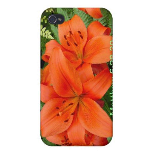 Flor del lirio - naranja iridiscente (M 28-30) iPhone 4 Cobertura
