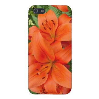 Flor del lirio - naranja iridiscente (M 28-30) iPhone 5 Carcasa