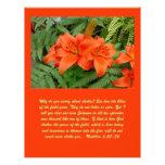 Flor del lirio - naranja iridiscente (Matt 28-30) Tarjeton