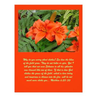 "Flor del lirio - naranja iridiscente (Matt 28-30) Folleto 8.5"" X 11"""