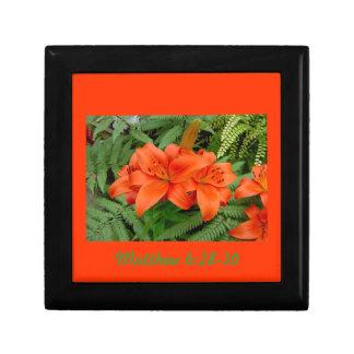 Flor del lirio - naranja iridiscente (Matt 28-30) Cajas De Joyas