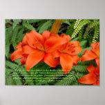 Flor del lirio - naranja iridiscente (Matt 28-30) Posters