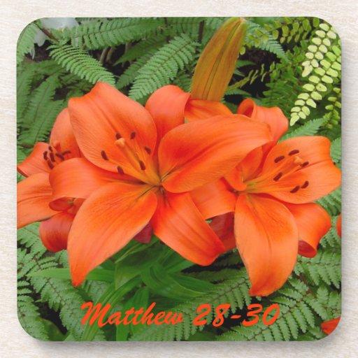 Flor del lirio - naranja iridiscente (Matt 28-30) Posavaso