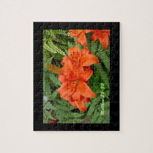 Flor del lirio - naranja iridiscente (Matt 28-30) Rompecabezas