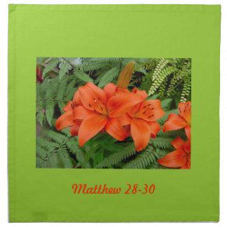 Flor del lirio - naranja iridiscente (Matt 28-30) Servilletas