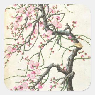Flor del melocotón (color en el papel) pegatina cuadrada