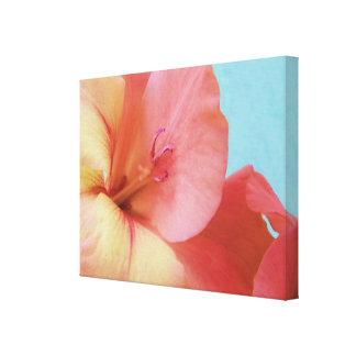 Flor del melocotón del gladiolo impresión en lona