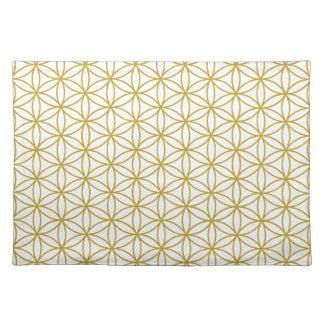 Flor del modelo de la vida - oro en blanco mantel individual