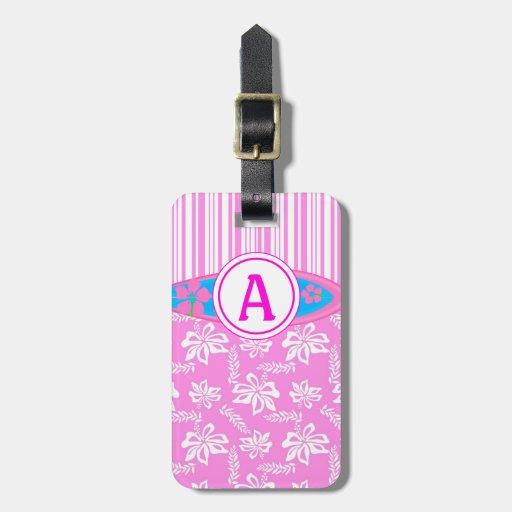 Flor del monograma rosado y playa hawaianas de la etiqueta de maleta