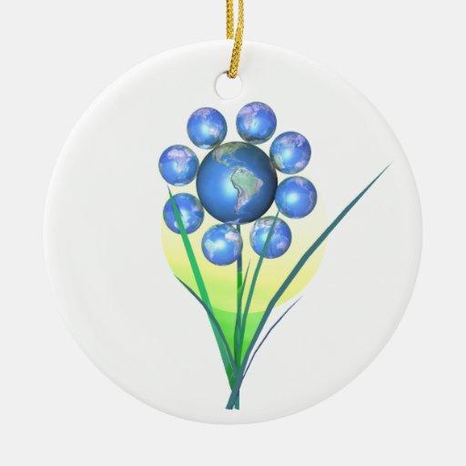 Flor del mundo del Día de la Tierra Adorno Redondo De Cerámica