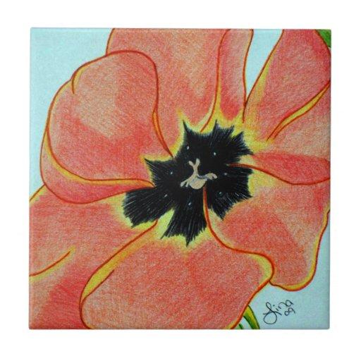 Flor del naranja salvaje azulejo