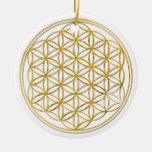Flor del oro de la vida el |, pequeña adorno navideño redondo de cerámica