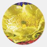 Flor del oro - para la cura de la energía n pegatina redonda
