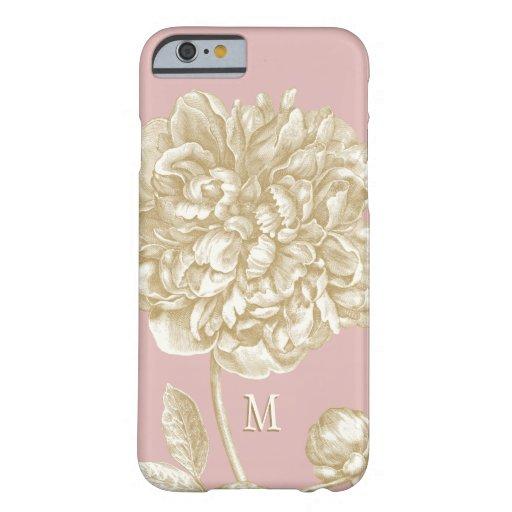 Flor del Peony botánica, rosada y oro con Funda De iPhone 6 Barely There