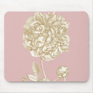 Flor del Peony botánica, rosada y oro Tapetes De Ratón
