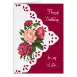 Flor del Peony del vintage para el cumpleaños de l Felicitaciones