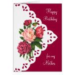Flor del Peony del vintage para la mamá, cumpleaño Felicitación
