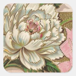 Flor del Peony del vintage Pegatina Cuadrada