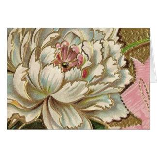 Flor del Peony del vintage Tarjeta De Felicitación
