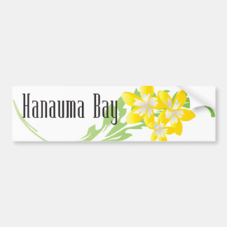 Flor del Plumeria de la bahía de Hanauma Etiqueta De Parachoque